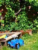 Im Sommer im Garten spielen